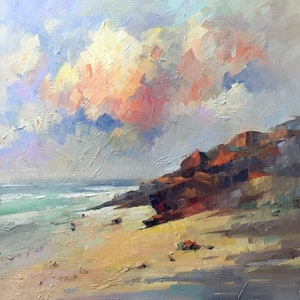 (CreativeWork) Private Beach  III by LI ZHOU. oil-painting. Shop online at Bluethumb.