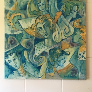 (CreativeWork) Faces by chris (christopherlo) pritchard. oil-painting. Shop online at Bluethumb.