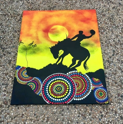 """(CreativeWork) """"topendstockmen"""" by Scott McMillan. arcylic-painting. Shop online at Bluethumb."""