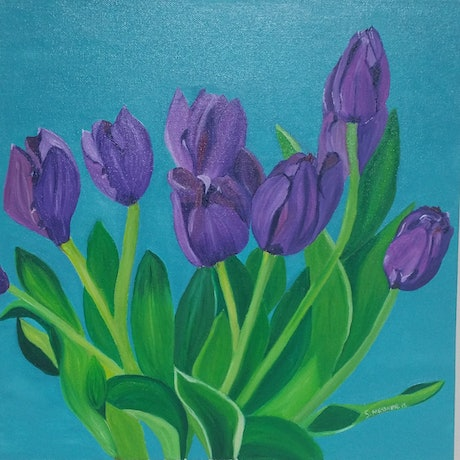(CreativeWork) Purple Tulips by Sandra Messner. Oil Paint. Shop online at Bluethumb.