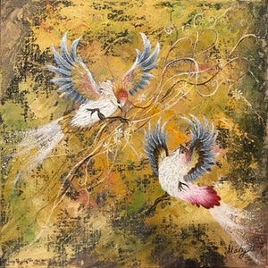 (CreativeWork) Birds by Mahyat Tehrany. oil-painting. Shop online at Bluethumb.