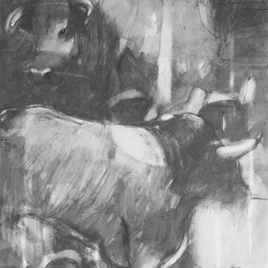 """(CreativeWork) Graphite Series -Painting 9   """" Stacked Bulls  """" by Tony Belobrajdic. drawing. Shop online at Bluethumb."""