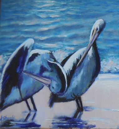 (CreativeWork) The Meeting by Anne Strambi. Oil Paint. Shop online at Bluethumb.