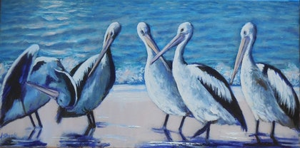 (CreativeWork) The Meeting by Anne Strambi. oil-painting. Shop online at Bluethumb.