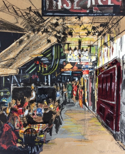 (CreativeWork) Dinner on Lygon Street - Limited Edition Print 1 of 50 Ed. 1 of 50 by Juliet D Collins. print. Shop online at Bluethumb.