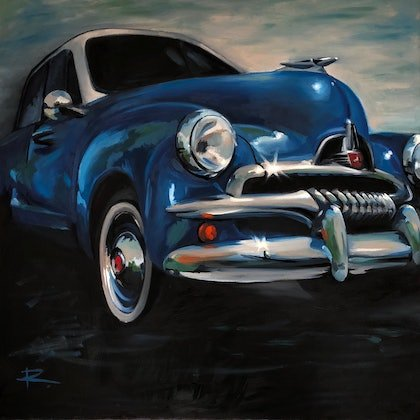 (CreativeWork) DON DRAPER feat. 1954 FJ Holden by Rosa Fedele. oil-painting. Shop online at Bluethumb.