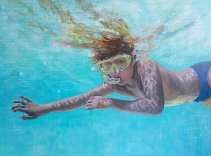 (CreativeWork) Underwater Chemistry  by Sherry McCourt. oil-painting. Shop online at Bluethumb.