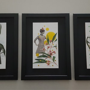 "(CreativeWork) ''Vintage French/Australian blossoms"" TRIPTYCH by Karen Coull. mixed-media. Shop online at Bluethumb."
