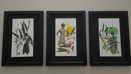 """''Vintage French/Australian blossoms"""" TRIPTYCH"""