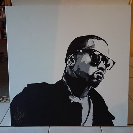 (CreativeWork) Kanye  by Colby Pont. Acrylic Paint. Shop online at Bluethumb.