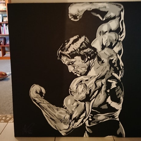 (CreativeWork) Arnie.  by Colby Pont. Acrylic Paint. Shop online at Bluethumb.