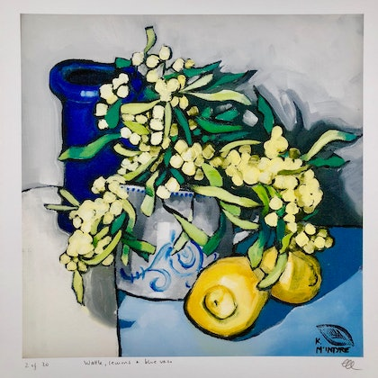(CreativeWork) Wattle, lemons and blue vase Giclee print A3 size Ed. 3 of 20 by kirsty mcintyre. print. Shop online at Bluethumb.