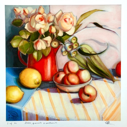 (CreativeWork) Roses, gumnuts and nectarines, giclee print; ed 2 of 20 by kirsty mcintyre. oil-painting. Shop online at Bluethumb.
