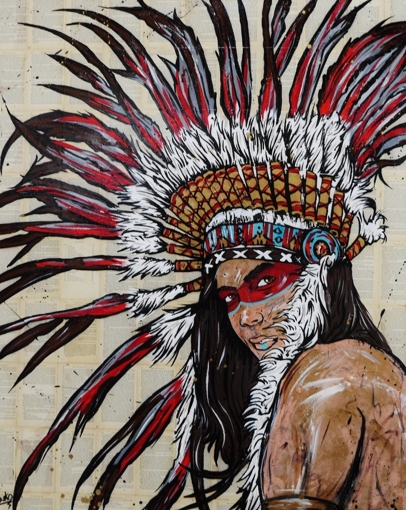 (CreativeWork) The Warrior 120cm x 150cm #arrives ready to hang canvas gloss finish urban Pop art Indian Chief Warrior by _Franko _. arcylic-painting. Shop online at Bluethumb.