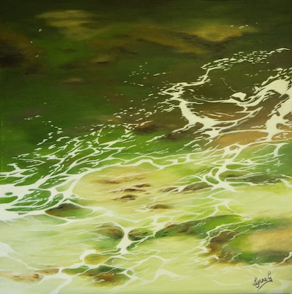 """(CreativeWork) """"ROCKPOOL"""" by Lynne Gehrke. arcylic-painting. Shop online at Bluethumb."""