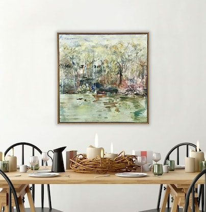 (CreativeWork) By The River (Timber Frame) by Melanie Crawford. Acrylic Paint. Shop online at Bluethumb.