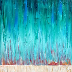 (CreativeWork) Sheets Of Colour Orange and Green by David Clare. oil-painting. Shop online at Bluethumb.