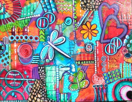 (CreativeWork) Dragonfly - Intuitive Painting by Astrid Rosemergy. arcylic-painting. Shop online at Bluethumb.