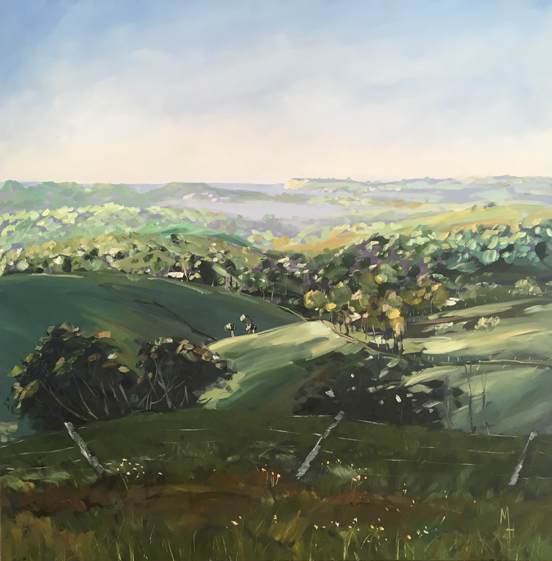 (CreativeWork) Byron Hinterland- Misty morning. by Meredith Howse. oil-painting. Shop online at Bluethumb.