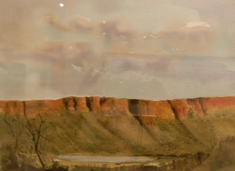 (CreativeWork) Outback Hills by Phillip Mylecharane. watercolour. Shop online at Bluethumb.
