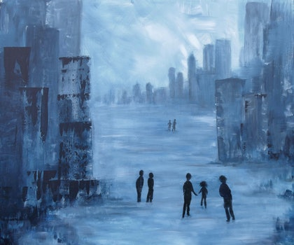 (CreativeWork) Individuals in Society by Jennifer Whiteley. arcylic-painting. Shop online at Bluethumb.