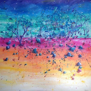 (CreativeWork) Sunburnt Country by Kim Neil. mixed-media. Shop online at Bluethumb.
