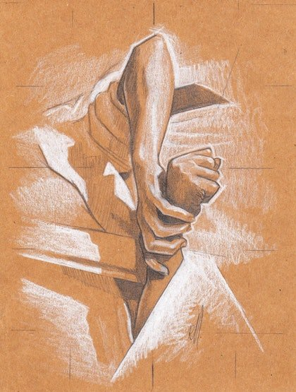 (CreativeWork) Two Hands (sketch) by Ross Morgan. drawing. Shop online at Bluethumb.