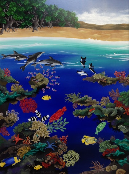 (CreativeWork) Reef with Mangrove Trees by Johanna Hildebrandt. arcylic-painting. Shop online at Bluethumb.