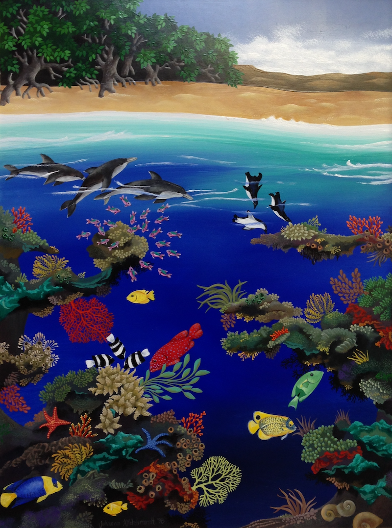 (CreativeWork) Reef with Mangrove Trees by Johanna Hildebrandt. acrylic-painting. Shop online at Bluethumb.