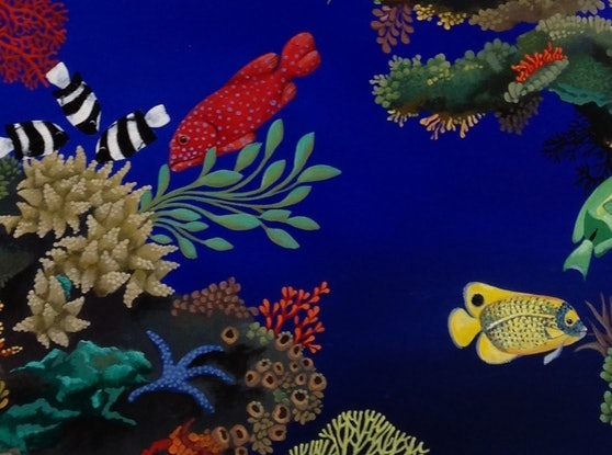 (CreativeWork) Reef with Mangrove Trees by Johanna Hildebrandt. Acrylic Paint. Shop online at Bluethumb.
