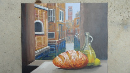 (CreativeWork) Breakfast in Venice by edward mitford. oil-painting. Shop online at Bluethumb.