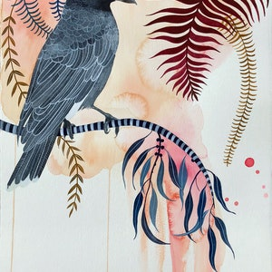 (CreativeWork) Currawong Song by Sally Browne. watercolour. Shop online at Bluethumb.