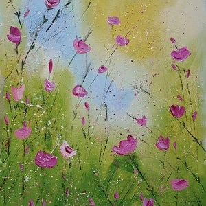 (CreativeWork) Springful Bliss (Wildflower grasses) x 2  by Deborah Christensen. mixed-media. Shop online at Bluethumb.