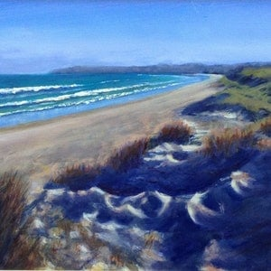 (CreativeWork) Dune Shadows - Seascape by Anne Strambi. oil-painting. Shop online at Bluethumb.