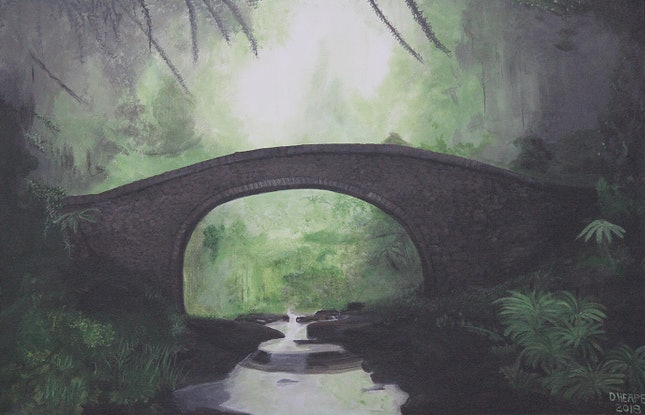 """(CreativeWork) """"Stone Bridge In Forest"""" by Dennis Heape. Acrylic Paint. Shop online at Bluethumb."""