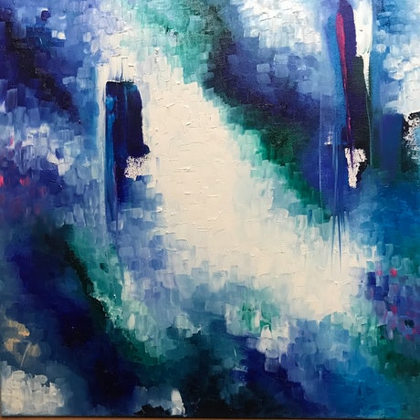 (CreativeWork) 'Waterfall'  2018 by Lisa Penney. Oil Paint. Shop online at Bluethumb.