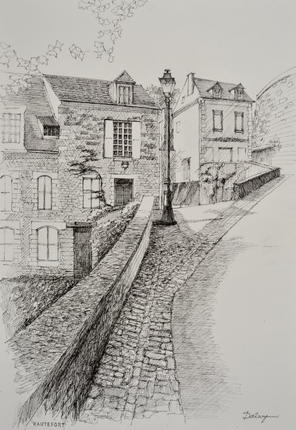 (CreativeWork) Hautefort Wall Freehand Ink Sketch by Dai Wynn. drawing. Shop online at Bluethumb.