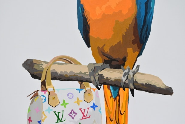 (CreativeWork) PERCHED ON LOUIS VUITTON  by Jacqui Stewart. #<Filter:0x00007fa57e1650f0>. Shop online at Bluethumb.