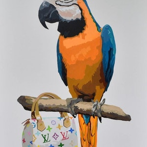 (CreativeWork) PERCHED ON LOUIS VUITTON  by Jacqui Stewart. #<Filter:0x00007fbc8aa22bc0>. Shop online at Bluethumb.