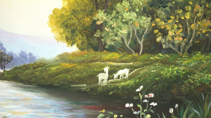 (CreativeWork) Flowing River by Bai Sun. Oil Paint. Shop online at Bluethumb.