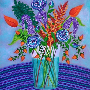 (CreativeWork) Bright Blooms by Lisa Frances Judd. arcylic-painting. Shop online at Bluethumb.