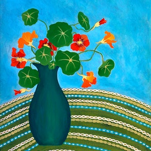(CreativeWork) My Nans Nasturtiums by Lisa Frances Judd. arcylic-painting. Shop online at Bluethumb.