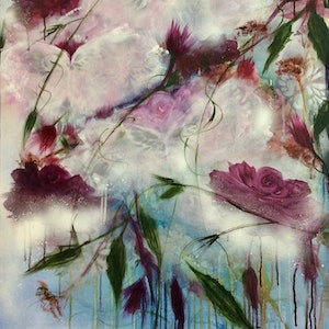 (CreativeWork) Butterfly Blossoms  by Louise Croese. mixed-media. Shop online at Bluethumb.