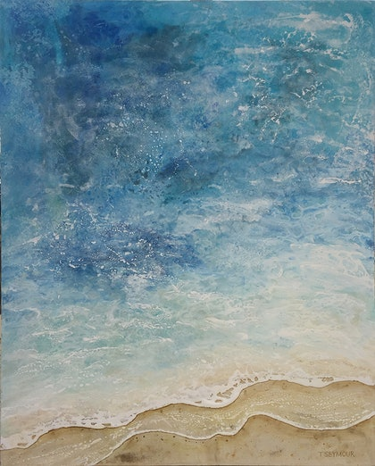 (CreativeWork) Deep Sea to Shore 3 by Treena Seymour. mixed-media. Shop online at Bluethumb.