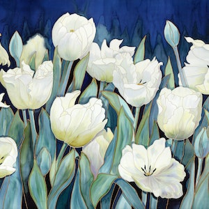 (CreativeWork) White Tulips Ed. 2 of 29 by Gillian Radford. print. Shop online at Bluethumb.