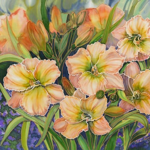 (CreativeWork) Daylilies Ed. 1 of 50 by Gillian Radford. print. Shop online at Bluethumb.