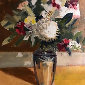 (CreativeWork) Mother's Day bouquet  by Ray Wilson. oil-painting. Shop online at Bluethumb.