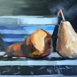 (CreativeWork) Pears by Ray Wilson. oil-painting. Shop online at Bluethumb.
