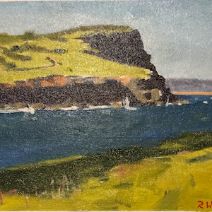 (CreativeWork) Lennox Head by Ray Wilson. oil-painting. Shop online at Bluethumb.