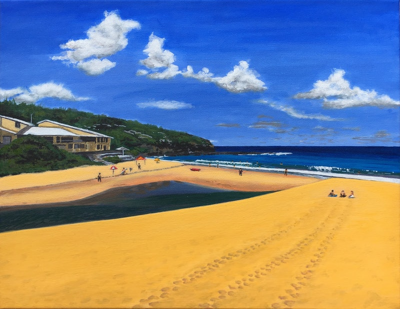 relaxing at the beach by callum horan paintings for sale bluethumb
